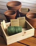 庭院种子箱子 免版税库存照片