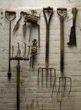 庭院老工具 库存照片