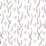 庭院花和草本的传染媒介无缝的样式 手拉的动画片样式重复背景 不尽逗人喜爱的夏天或的春天 库存例证