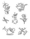 庭院花线艺术设计象大集合 从事园艺 稀薄的线艺术象 免版税图库摄影