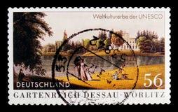 庭院领土德绍Worlitz世界遗产名录,联合国科教文组织世界遗产名录选址serie,大约2002年 库存照片