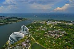 庭院鸟瞰图由海湾的在新加坡 免版税图库摄影