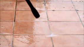 庭院,压力洗衣机,电,清洗的石头 股票视频