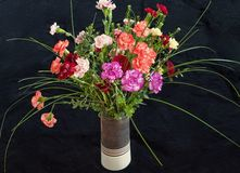康乃馨五颜六色的buquet在花瓶的 库存图片