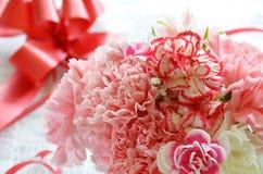 康乃馨和礼物 库存照片