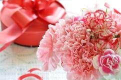 康乃馨和礼物 库存图片
