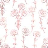 康乃馨花图表红颜色无缝的样式剪影例证 库存图片