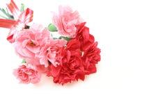 康乃馨花束与丝带的 图库摄影