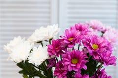 康乃馨花束在一个花瓶的仿照普罗旺斯样式 免版税库存图片