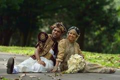 康提,斯里兰卡, 2015年11月10日:穿传统礼服的新娘和新郎 图库摄影