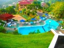 康提,斯里兰卡- 2009年5月02日:旅馆旅馆黄玉3,斯里兰卡游泳池  免版税库存图片
