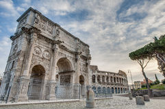 康斯坦丁曲拱在罗马,意大利 库存照片