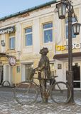 康斯坦丁Eduardovich齐奥尔科夫斯基铜雕塑  卡卢加州 免版税库存图片
