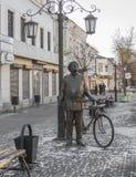 康斯坦丁Eduardovich齐奥尔科夫斯基铜雕塑  卡卢加州 库存图片