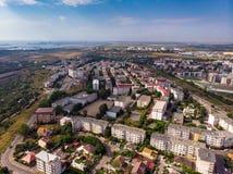 康斯坦察,镇鸟瞰图在罗马尼亚 免版税库存图片