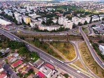 康斯坦察,镇鸟瞰图在罗马尼亚 免版税库存照片