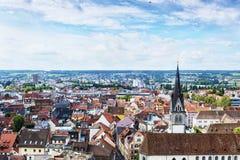 康斯坦茨市全景从芒斯特的 亚丁乌特姆博格地区 德国 免版税库存照片