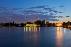 康斯坦茨湖,看城市,旅馆,大教堂 免版税库存照片