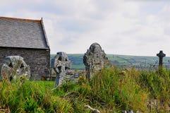 康沃尔十字架,墓地, Tintagel,康沃尔郡 免版税库存照片