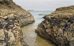 康沃尔海滩场面在显示岩石和海的11月 库存图片