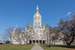 康涅狄格状态国会大厦在哈特福德从南部观看了 库存照片