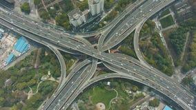 延安在好日子举起了公路交叉点 上海中国 空中自上而下的看法 股票视频