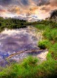 延迟下午的湖 图库摄影