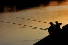 延迟夜间的捕鱼 库存照片