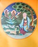 廷布不丹- 2016年9月11日:在墙壁上的著名绘画在Simtokha Dzong,廷布不丹 免版税图库摄影
