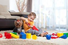 建立儿童狗家作用的块 免版税库存照片