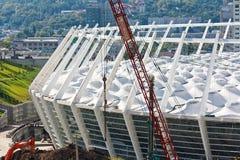 建筑下足球场 免版税图库摄影