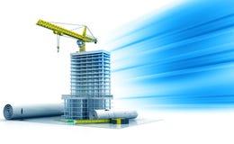 建筑与起重机的计划和地平线大厦 免版税图库摄影