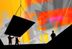 建筑业,小组工作 免版税库存照片