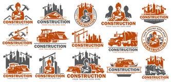 建筑商标模板集合,商标组装,商标捆绑,传染媒介盒建筑商标,容易编辑 向量例证
