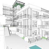 建筑图画和透视 库存例证