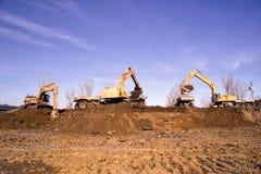 建筑土堤挖掘机平地机机器 图库摄影