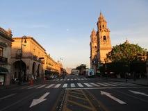 建筑学和日落在墨西哥 免版税库存图片