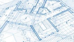 建筑学设计:图纸计划-计划的例证 图库摄影