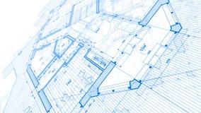 建筑学设计:图纸计划-计划mod的例证 免版税图库摄影