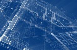 建筑学设计:图纸计划-计划mod的例证 库存例证