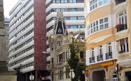 建筑学,在cristal城市A coruna加利西亚 免版税库存图片