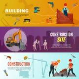 建筑工人水平的横幅 库存例证