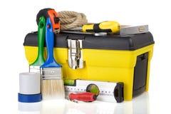 建筑工具箱用工具加工白色 免版税图库摄影