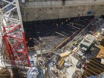 建筑工地,Unipol小组总部的基础,托尔Unipol,新的摩天大楼在米兰,伦巴第,意大利 库存图片