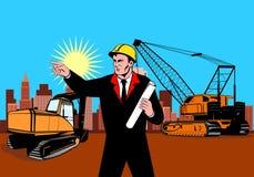 建筑工头指向 库存照片
