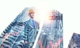 建筑师人和他的项目 混合画法 库存照片