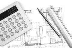 建筑师内部工作表 免版税图库摄影