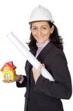 建筑师可爱的夫人 免版税库存照片