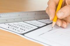 建筑师图画计划Ruler 免版税库存图片