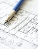 建筑师图纸设计房子计划 免版税库存图片